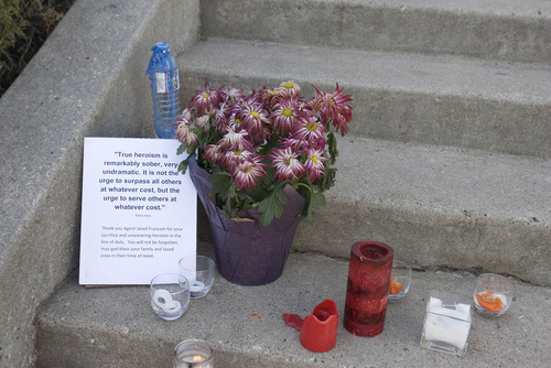 Paul Fraughton | The Salt Lake Tribune. A message left on the steps leading to an LDS ward house across the street from the Ogden home where six police officers were shot, one fatally, during a drug raid on Wednesday night.