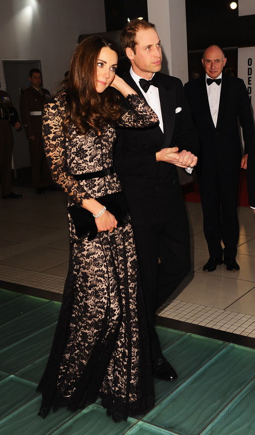 The Duke and Duchess of Cambridge arrive for the UK Premiere of 'War Horse' in aid of The Foundation of Prince William and Prince Harry, at a central London cinema, London, Sunday, Jan. 8, 2012. (AP Photo/Ian Gavan, Pool)