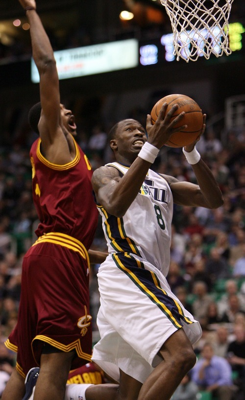 Steve Griffin  |  The Salt Lake Tribune  Utah's Josh Howard gets past Cleveland's Tristan Thompson during first half action in the Jazz Cleveland game at EnergySolutions Arena in Salt Lake City, Utah  Tuesday, January 10, 2012.