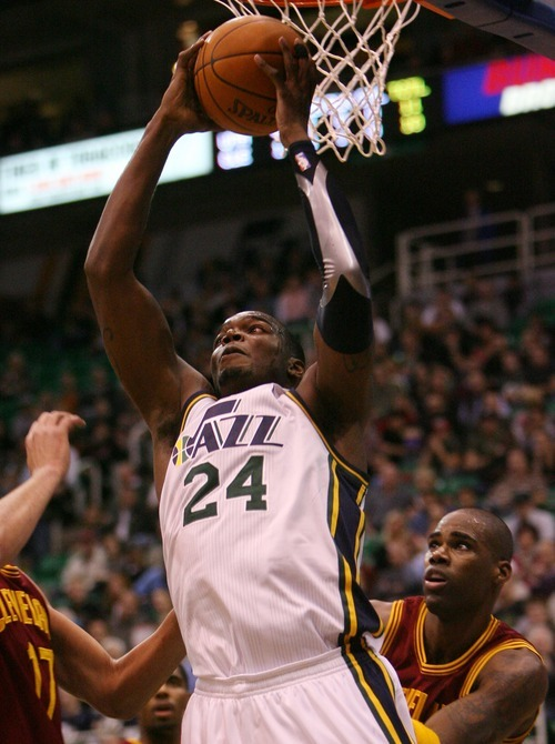 Steve Griffin  |  The Salt Lake Tribune  Utah's Paul Millsap drives grabs a rebound during first half action in the Jazz Cleveland game at EnergySolutions Arena in Salt Lake City, Utah  Tuesday, January 10, 2012.