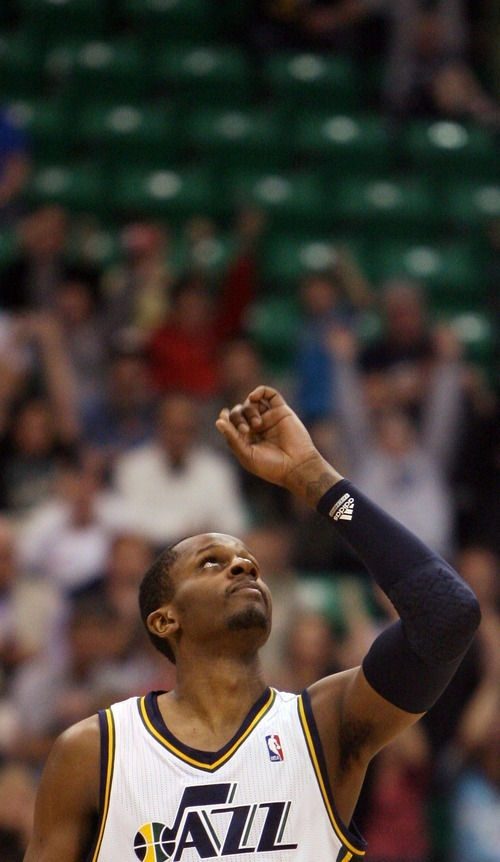 Steve Griffin  |  The Salt Lake Tribune  Utah's C.J. Miles pumps his fist in the after nailing a late three pointer during second half action in the Jazz Cleveland game at EnergySolutions Arena in Salt Lake City, Utah  Tuesday, January 10, 2012.