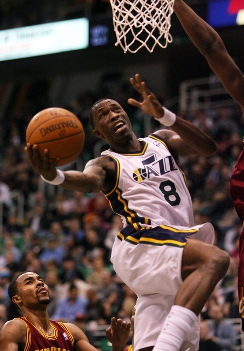 Steve Griffin  |  The Salt Lake Tribune  Utah's Josh Howard gets to the basket and scores during first half action in the Jazz Cleveland game at EnergySolutions Arena in Salt Lake City, Utah  Tuesday, January 10, 2012.