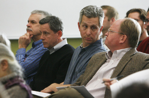 Francisco Kjolseth  |  The Salt Lake Tribune EnergySolutions officials (from left) Mark Ledoux, Tom Magette, Sean McCandless and Daniel Shrum attend a meetings of the Radiation Control Board where state representatives defended the decision to allow blended radioactive waste into the state while an in-depth study is conducted.