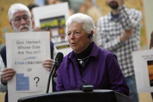 Francisco Kjolseth  |  The Salt Lake Tribune Longtime Utah activist Linda Johnson speaks out as she joins other concerned citizens gathered Tuesday at the Department of Environmental Quality building to blast the state's decision to allow EnergySolutions to accept blended nuclear waste in the West Desert. The protesters urged Gov. Gary Herbert to protect Utah from dangerous radioactive refuse.