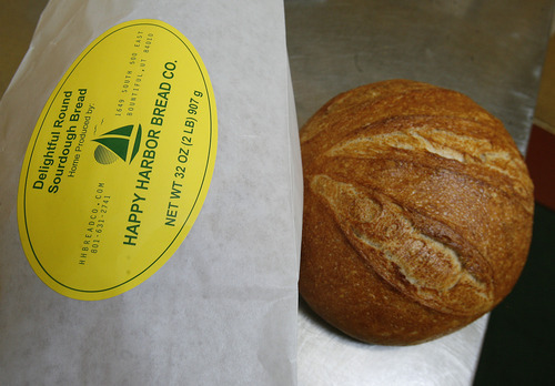 Scott Sommerdorf  |  The Salt Lake Tribune              One of Chris Stokes' finished loaves of sourdough. Stokes, chef and owner of the Happy Harbor Bread Co. in Bountiful, will deliver fresh-baked sourdough bread to customers nearby his Bountiful home.