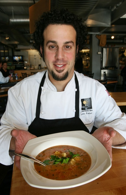 Steve Griffin  |  The Salt Lake Tribune Chef Adam Kreisel, owner of Chaia Cucina Catering, with his northern Italian chicken and barley soup at Caputo's in Salt Lake City.