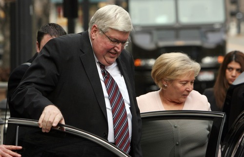 Steve Griffin  |  The Salt Lake Tribune Dewey C. MacKay and his wife, Kathleen MacKay, get into a car waiting outside the Frank E. Moss U.S. Courthouse in Salt Lake City on Monday Dec. 19, 2011, following sentencing hearing for charges related to prescribing more than 1.9 million hydrocodone pills and nearly 1.6 million oxycodone pills between June 1, 2005, and Oct. 30, 2009. His attorney Peter Stirba is at right.