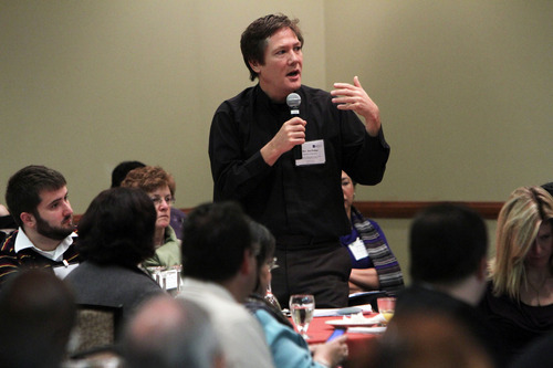 Francisco Kjolseth  |  The Salt Lake Tribune The Rev. Jon Pedigo with the Diocese of San Jose raises a question during a discussion for the second day of the U.S. Conference of Catholic Bishops Conference being held in Salt Lake City.