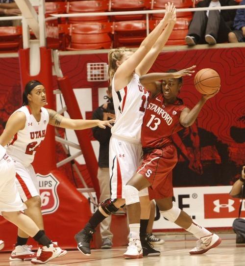 Chris Detrick  |  The Salt Lake Tribune Utah's Taryn Wicijowski (11) guards Stanford's Chiney Ogwumike (13) during the game at the Huntsman Center Thursday January 12, 2012.
