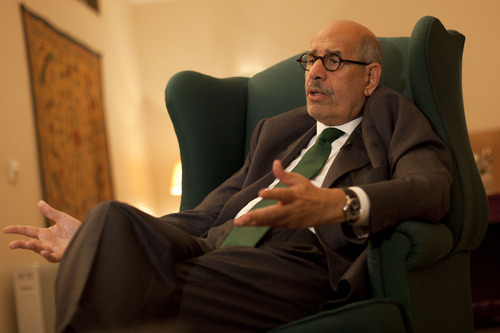 FILE - In this Sunday, Dec. 4, 2011 file photo, pro-reform leader and Nobel peace laureate Mohamed ElBaradei speaks during an interview with The Associated Press in his home in Giza, on the outskirts of Cairo, Egypt. Egypt reform leader Mohamed ElBaradei said Saturday, Jan. 14, 2012 that he won't run for president to protest military rule. (AP Photo/Bernat Armangue, File)