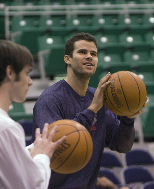 Kim Raff  | The Salt Lake Tribune New Jersey Nets player Kris Humphries during warmup before game against the Utah Jazz at EnergySolutions Arena in Salt Lake City on Saturday.
