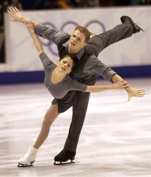 ßteve Griggin  |  Tribune file photo Jamie Sale and David Pelletier skate during the pairs free figure skating program at the Salt Lake Ice Center during the 2002 Winter Olympics. The two, who shared the gold medal with the Russian pair due to a voting scandal, will return to Utah to perform for the 10th anniversary of the Winter Games.