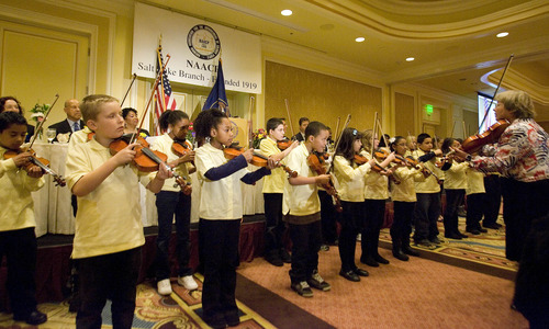 Paul Fraughton | The Salt Lake Tribune. The Beverley Taylor Sorenson Violin Group performs at the NAACP's  28th annual Martin Luther King Jr. Memorial Luncheon  at the Little America Hotel in Salt Lake City.  Monday, January 16, 2012