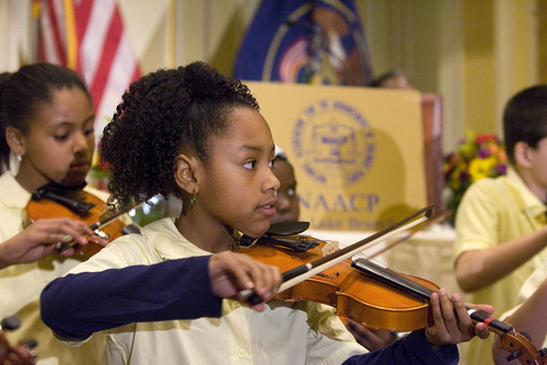 Paul Fraughton | The Salt Lake Tribune. Dominyae Flores, a fourth-grader at Bennion Elementary School , as part of the Beverley Taylor Sorenson Violin Group, performs at the NAACP's  28th annual Martin Luther King Jr. Memorial Luncheon  at the Little America Hotel in Salt Lake City.  Monday, January 16, 2012
