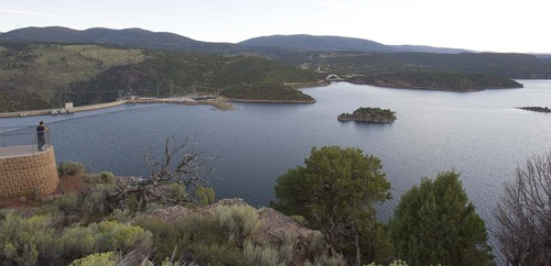 Paul Fraughton     The Salt Lake Tribune. Flaming Gorge Reservoir  on Wednesday  August 17, 2011. A Colorado developer wants to withdraw water from the Green River and Flaming Gorge Reservoir, which straddles the Wyoming-Utah state line.