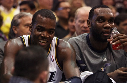 Steve Griffin  |  The Salt Lake Tribune   Utah's Paul Millsap and Al Jefferson get a breather on the bench during first half action of the Utah Jazz versus Los Angeles Clippers game at EnergySolutions Arean in Salt Lake City, Utah  Tuesday, January 17, 2012.