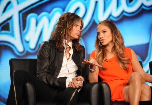 2012 FOX WINTER TCA: AMERICAN IDOL SEASON 11: L-R: Steven Tyler and Jennifer Lopez at the 2012 FOX WINTER TCA on Sunday, Jan. 8 at the Langham Hotel in Pasadena CA.  CR: Frank Micelotta/FOX