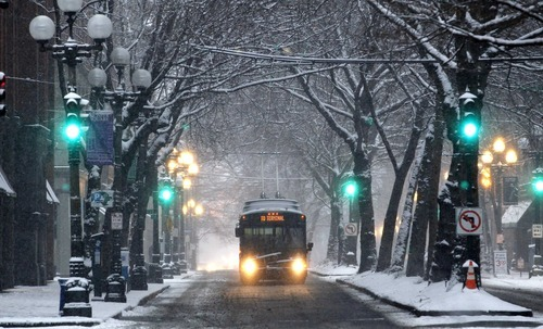 A Metro bus drives under a canopy of snow-covered trees in Pioneer Square Wednesday, Jan. 18, 2012, in Seattle. As snow started falling on Seattle Wednesday morning, the National Weather Service scaled back the amount expected in western Washington but said it would still be a significant event. The total in the city would likely be 3 to 6 inches, meteorologist Dustin Guy says. More is likely in southwest Washington, 4 to 8 inches, while less is expected in the northwest interior, 1 to 2 inches. (AP Photo/Elaine Thompson)