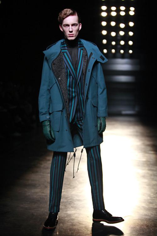 A model wears a creation by Japenese fashion designer Arashi Yanagawa for John Lawrence Sullivan Men's fall-winter 2012-2013 collection, presented in Paris, Wednesday, Jan.18, 2012. (AP Photo/Thibault Camus)