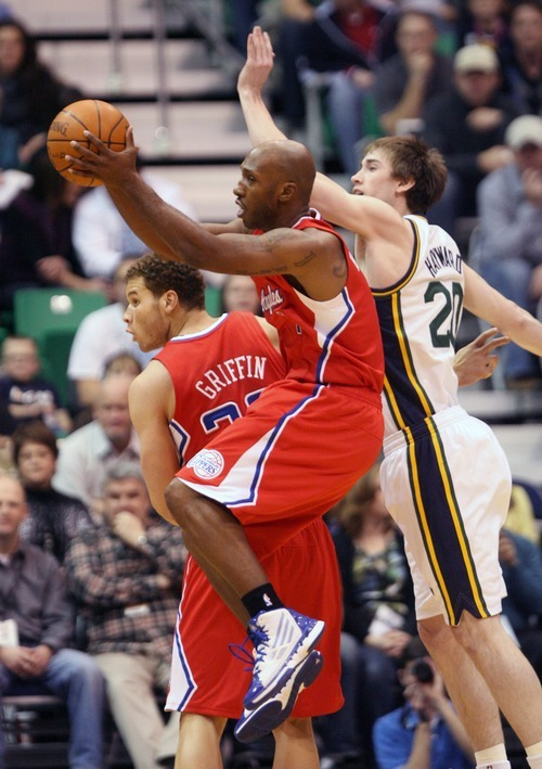 Steve Griffin  |  The Salt Lake Tribune   Utah's Gordon Hayward, right, forces Clippers guard Chauncey BIllups to pass during first half action of the Utah Jazz versus Los Angeles Clippers game at EnergySolutions Arean in Salt Lake City, Utah  Tuesday, January 17, 2012.