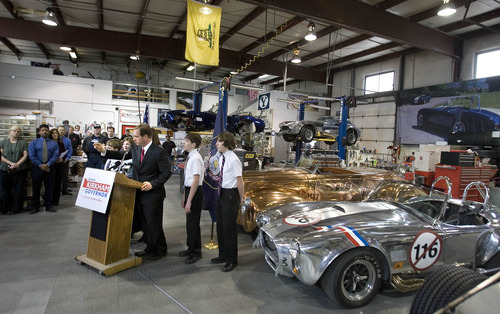 Paul Fraughton   The Salt Lake Tribune. David Kirkham, surrounded by family at his motor sports business in Provo, announces his run for governor on Wednesday, Jan. 18, 2012.