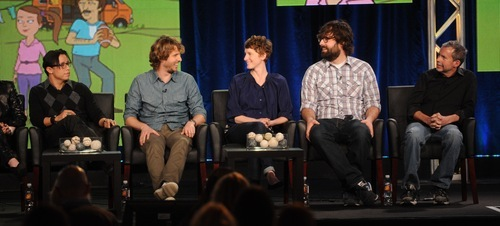 2012 FOX WINTER TCA: (L-R) NAPOLEON DYNAMITE Cast members Efren Ramirez, Jon Heder, and Executive Producers Jerusha and Jared Hess, (Creators) and Mike Scully during the NAPOLEON DYNAMITE session at the 2012 FOX WINTER TCA on Sunday, Jan. 8 at the Langham Hotel in Pasadena CA.  CR: Frank Micelotta/FOX