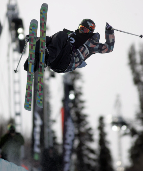 This Jan. 16, 2010 photo shows Sarah Burke competing in the women's ski halfpipe finals at Snowbasin. Burke died Thursday morning at University Hospital in Salt Lake City, her publicist and hospital officials confirmed. The 29-year-old Canadian had been comatose in critical condition since hitting her head in a fall at the superpipe at Park City Mountain Resort on Jan. 10. (AP Photo/The Salt Lake Tribune, Jim Urquhart)