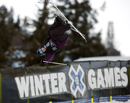 In this Jan. 29, 2010 file photo, Sarah Burke, of Canada, competes during the women's skiing superpipe final round at the Winter X Games at Buttermilk Mountain outside Aspen, Colo. Burke died Thursday morning at University Hospital in Salt Lake City, her publicist and hospital officials confirmed. The 29-year-old had been comatose since hitting her head in a fall at the superpipe at Park City Mountain Resort on Jan. 10. (AP Photo/David Zalubowski, File)