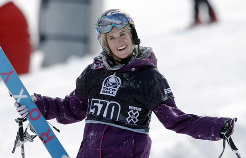 In a Jan. 28, 2010, file photo, Sarah Burke, of Canada, reacts after failing to place in the top-three finishers in the slopestyle skiing women's final at the Winter X Games at Buttermilk Mountain outside Aspen, Colo. Burke died Thursday morning at University Hospital in Salt Lake City, her publicist and hospital officials confirmed. The 29-year-old had been comatose since hitting her head in a fall at the superpipe at Park City Mountain Resort on Jan. 10. (AP Photo/David Zalubowski)