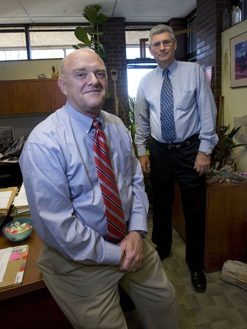 Al Hartmann   |  The Salt Lake Tribune   Kent Jones, left, and John Mann with the Utah Division of Water Rights were the only officials in the state who have a decision-making role in the proposed nuclear power plant near Green River. Neither the governor nor Legislature get a vote.