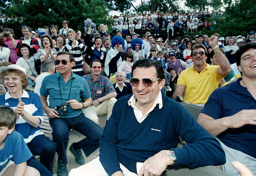 Penn State coach Joe Paterno is shown at a pep rally for his team in Phoenix, Ariz., Jan. 2, 1987.  Penn State meets Miami Friday in the Fiesta Bowl in Tempe, Ariz., for the national champhionship.  (AP Photo/Jim Gerberich)