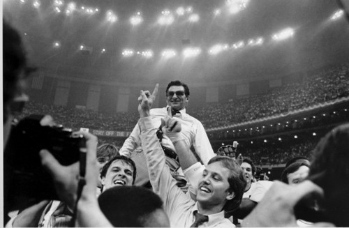 Penn State head football coach Joe Paterno takes a victory ride from his players on the field at the Superdome after winning the Sugar Bowl in New Orleans, La., Jan. 1, 1983.  Penn State defeated Georgia 27-23 to win the National Championship.  (AP Photo)