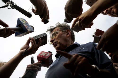 Penn State football coach Joe Paterno talks to reporters after practice in State College, Pa., Friday Aug. 26, 2005. (AP Photo/Caolyn Kaster)