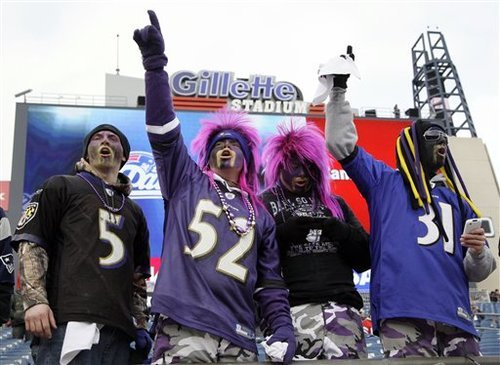 Baltimore Ravens fans cheer for their team before the AFC Championship NFL football game against New England Patriots Sunday, Jan. 22, 2012, in Foxborough, Mass.  (AP Photo/Elise Amendola)