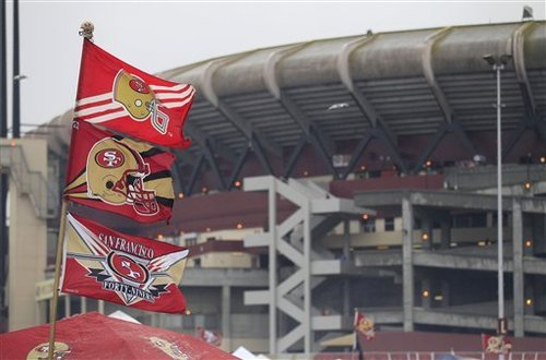 Candlestick Park is shown before the NFC Championship NFL football game between the San Francisco 49ers and the New York Giants Sunday, Jan. 22, 2012, in San Francisco. (AP Photo/Marcio Sanchez)