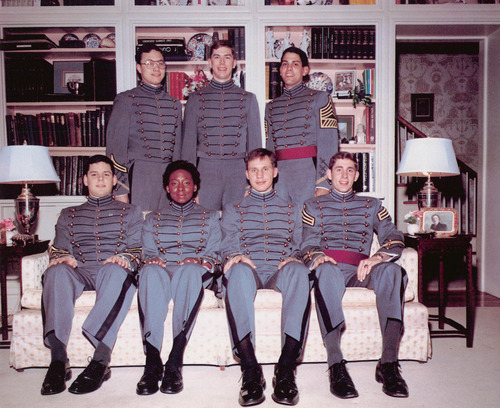 Nicola Riley, who graduated from the United States Military Academy at West Point in 1987, worked on the yearbook while in school. This photo shows her with other members of the staff. Source: E-Yearbook.com
