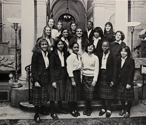 Standing in the back row, Nicola Riley is pictured with fellow students at the Convent of the Sacred Heart in New York City, a private Catholic girls school. Source: E-Yearbook.com