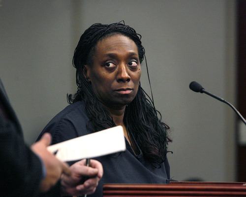 Scott Sommerdorf     The Salt Lake Tribune              Dr. Nicola Irene Riley appeared at a Monday, Jan. 9, hearing in Judge Ann Boyden's court where bail was denied for the doctor charged with homicide after allegedly botching an abortion in Maryland in 2010.