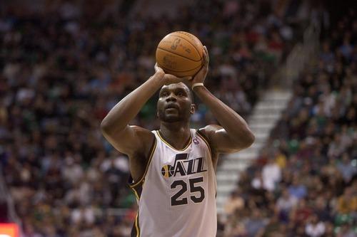 Jeremy Harmon  |  The Salt Lake Tribune  Utah's Al Jefferson shoots a free throw as the Jazz host the Timberwolves at EnergySolutions Arena Saturday, Jan. 21, 2012 in Salt Lake City.