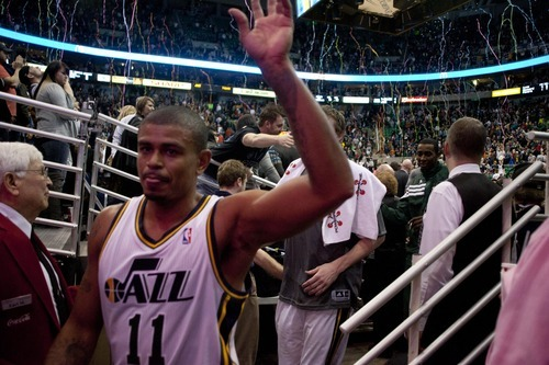 Jeremy Harmon  |  The Salt Lake Tribune  Earl Watson leaves the court after the Jazz beat the Timberwolves at EnergySolutions Arena Saturday, Jan. 21, 2012 in Salt Lake City.