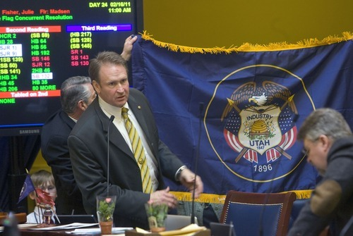 Al Hartmann   |  Tribune file photo Sen. Mark Madsen, R-Eagle Mountain, spent $143 for express-lane passes (three other lawmakers also bought passes), $232 for