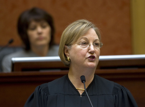 Al Hartmann  |  The Salt Lake Tribune Utah Supreme Court Chief Justice Christine Durham gives the State of Judiciary speech to members in the House of Representatives on Monday, Jan. 23.