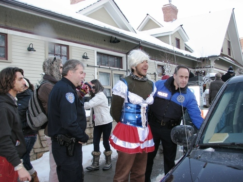 Robert Kirby | The Salt Lake Tribune Daniel Hanna, 18, an Occupy SLC protester in Park City dressed as Lady Gaga, was arrested on charges of criminal mischief and disorderly conduct during the Sundance Film Festival on Sunday.