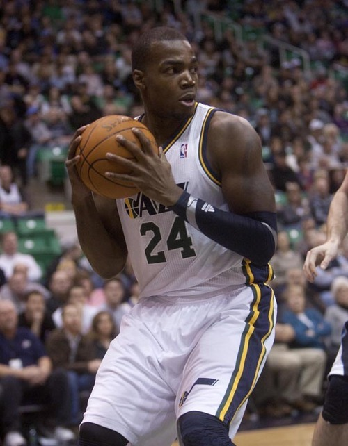 Jeremy Harmon  |  The Salt Lake Tribune  Paul Millsap as the Jazz host the Timberwolves at EnergySolutions Arena Saturday, Jan. 21, 2012 in Salt Lake City.