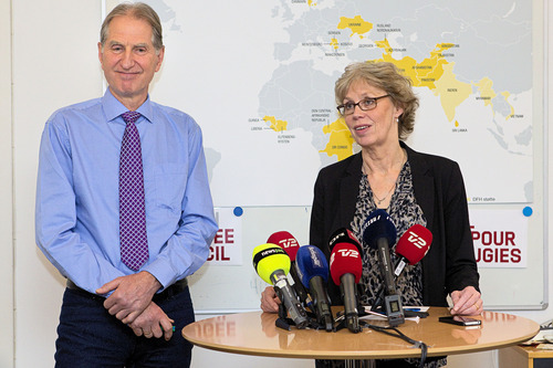 General Secretary of  Danish Refugee Aid, Andreas Kamm, and head of international operations of the organization, Ann Mary Olsen, address media Wednesday Jan.  25 2012  in Copenhagen, Denmark, where they spoke on the rescue of the two kidnapped hostages - a Dane and an American - who were working for the charity in Somalia, by US special forces. (AP Photo/ Jakob Joergensen)   DENMARK OUT **