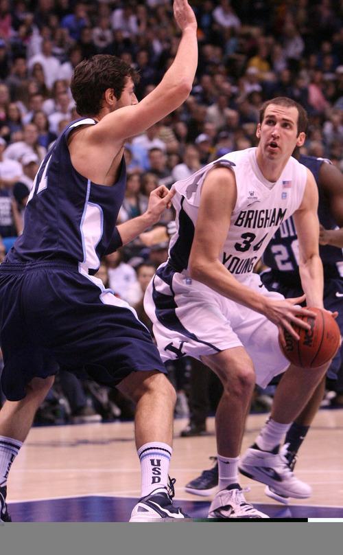 Leah Hogsten | The Salt Lake Tribune   BYU forward Noah Hartsock in a Dec. 31, 2011 game against San Diego.