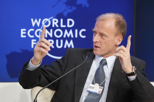 CEO of Airbus Thomas Enders gestures as he speaks during a session at the World Economic Forum in Davos, Switzerland, Wednesday, Jan. 25 ,2012. The overarching theme of the meeting, which will take place from Jan. 25 to 29, is