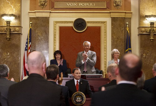 Trent Nelson  |  The Salt Lake Tribune Utah Gov. Gary Herbert gets a standing ovation for his position on federal interference in state matters, while delivering the State of the State address in the House Chamber on Wednesday.