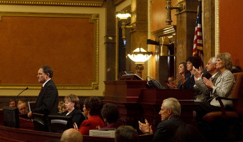 Trent Nelson  |  The Salt Lake Tribune  Utah Gov. Gary Herbert delivers the State of the State address in the House Chamber on Wednesday.
