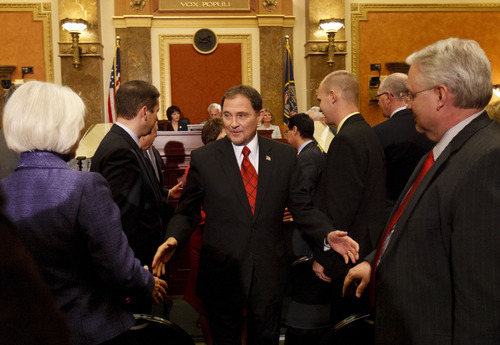 Trent Nelson  |  The Salt Lake Tribune  Utah Gov. Gary Herbert shakes hands with legislators after delivering the State of the State address Wednesday in the House Chamber.